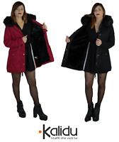 Parka donna Invernale Giubbotto cappuccio pelliccia Cappotto Lungo SLIM fit nero