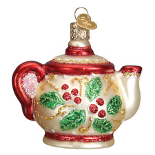 Old World Christmas Holly Teapot (32247)N Glass Ornament w/ Owc Box