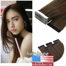 "Tape in Hair Extensions Skin Weft Brazilian Remy Human Hair MediumBrown 22""20Pcs"