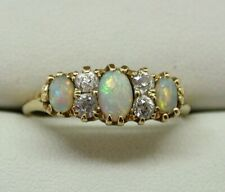 Victorian 1896 Gorgeous 18 Carat Gold Opal And Diamond Ring Size S.1/2