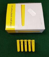 100 x Wall Plug Plastic Expansion Wall Fixing Raw Rawl Plugs 5-5.5mm Yellow 100