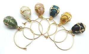 6 ~ FABERGE Imperial Collection Enemal / Crystal Egg Wine Pendant Charms NO RES