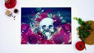 Skulls and Flowers 40cm x 30cm Glass Chopping Board Worktop Saver Cutting Board