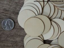 50 count 1.5 inch wood CIRCLE shape DIY 1-1/2 inch wooden coin craft piece round