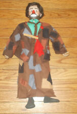 "Emmett Kelly Hobo 20"" Effanbee Doll Hair Clothespin Vintage Porcelain Cloth RARE"