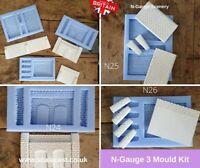N Gauge Lineside 3 mould Kit N24-26 - N Scale - NEW RELEASE
