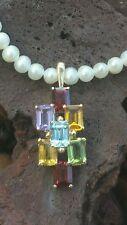 Vintage 14k Gold Pearl Topaz Garnet Peridot Citrine Necklace Pendant Enhancer