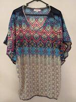 Temt Women's Top Size Medium/Large Multicoloured Abstract V-Neck Tassel Sheer