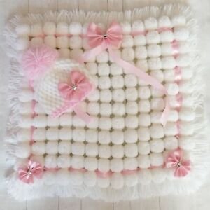 Luxurious Pom Pom Blanket In White and Pink Mix Blanket Baby Girl Set with Hat