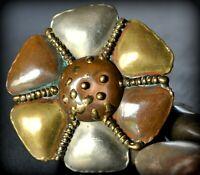 Vintage Brutalist Mixed Metal Flower Belt Buckle Brass Copper Silver MCM Slide