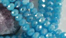 100pcs 3x4mm Cristal à Facette Rondelle Verre Lac Bleu AB Blotter Perles