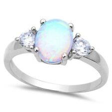 .925 Sterling Silver Ring Sizes 5-10 White Opal & Cubic Zirconia Fashion