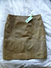 Ladies Georgeous Mint Velvet 100% Leather Skirt beige 16 New with labels