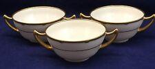 3 LIMOGES Bouillon Soup Bowls Wright Lyndale Van Roden White Gold Philadelphia