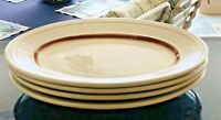 4 Restaurant Ware Shenango China Steak or Prime Rib Platters Maroon & Gold Plate