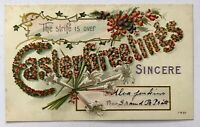 Easter Greetings The Strife Is Over Postcard Winsch Lillies Flowers Embossed