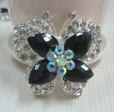 """2.1"""" FACETED BLACK  BUTTERFLY & CLEAR RHINESTONE CRYSTAL BROOCH"""