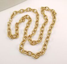 "Vintage 37.5"" Vendome Signed High End Coro Gold Ribbed Circle Rolo Link Necklace"