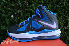 NIKE LEBRON X GS SZ 4.5 Y BLACK METALLIC SILVER PHOTO BLUE WHITE 543564 005