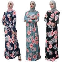 Floral Maxi Dress Women Muslim Kaftan Islamic Party Cocktail Abaya Lady Robes