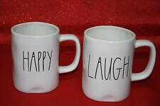 RAE DUNN ARTISAN COLLECTION BY MAGENTA HAPPY & LAUGH COFFEE TEA MUGS - NEW - S/2