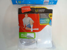 12 PAIR HANES Cushion Crew Socks Mens Shoe Size 6-12 White Long Athletic