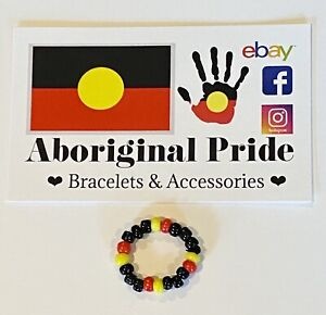 Beaded Ring Aboriginal Flag Colours ❤️💛🖤 Handmade to size glass beads.