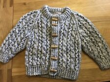 Handknit Cable Cardi Grey Fleck 3-6 Mnths? New