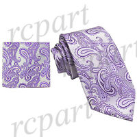 New Brand Q Men's micro fiber Paisley Neck Tie & Hankie Set lavender formal