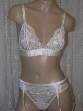 La Perla El Color Rojo 36B M Bra Panty Garter Belt Ivory Silk Lace 3 Pieces New