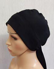 Black chemotherapy cap cancer head scarf chemo head wrap hair loss head wear hat