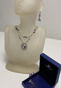 Authentic Swarovski Double Strand Necklace Earrings & Ring Matching Set W/ Box