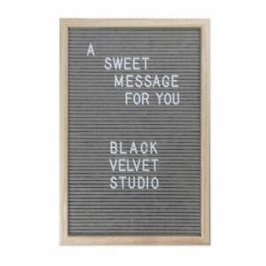 Convenient Felt Letter Grey Memo Board 40x 50cm Oak Frame 149 White Characters