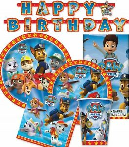 PAW PATROL PARTY SUPPLIES NAPKINS PLATES TABLECOVER BANNER BALLOONS