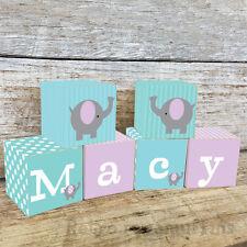 Personalised Wooden Name Blocks PRICE PER BLOCK/LETTER Custom Aqua Elephants