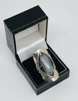 Vintage Costume Jewellery Statement Ring Silver tone Adjustable Size Glass Stone