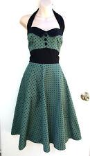 HELL BUNNY VIXEN Green Black Polka Dot Halter Neck 50's Vintage Styled Dress 4XL