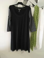 CALICO Black Grey White Green Stitching 3/4 Sleeve Stretch Tunic Top Dress 14 12