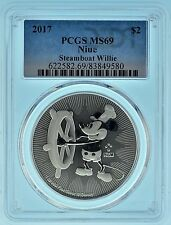 2017 PCGS MS69 Niue Mickey Mouse Steam Boat Willie Silver Oz (b37q)