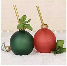 Christmas bauble drinking glasses red green With straw x2