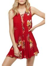 FREE PEOPLE LOVELY DAY PRINTED TUNIC DRESS IN RED NWT-SIZE M