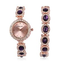 """Glass Crystal Bracelet Watch Stainless Steel Gift Jewelry for Women Size 7.5"""""""