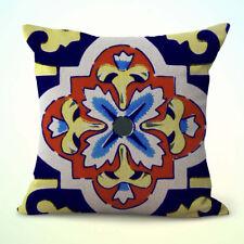 Us Seller-decorative throw pillows on Mexican Spanish talavera cushion cover