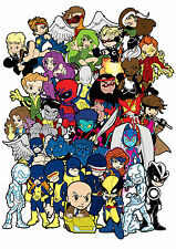 Lil X-Men Print - Wolverine, Cyclops, Beast, Storm, Angel, Ice Man, Marvel Girl