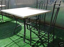 TAVOLO IN FERRO BATTUTO CON PIANO IN MARMO cm 100 x 100
