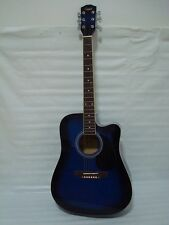 Full Size 6 String Acoustic Electric Guitar, Cutaway, Blue