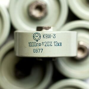 KVI-3 12kV 1000pF high voltage high frequency ceramic capacitor doorknob USSR