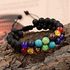 7 Chakra Healing Bracelet Handmade Volcanic Lava Stone Mala Meditation Beads