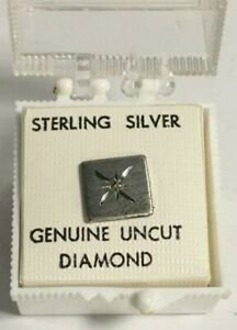 Tie Pin Sterling Silver And Genuine Uncut Diamond vintage USA (35A)