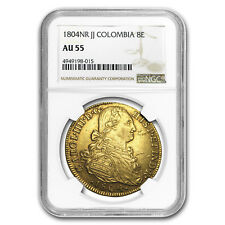 1804-NR JJ Colombia Gold 8 Escudo Charles IV AU-55 NGC